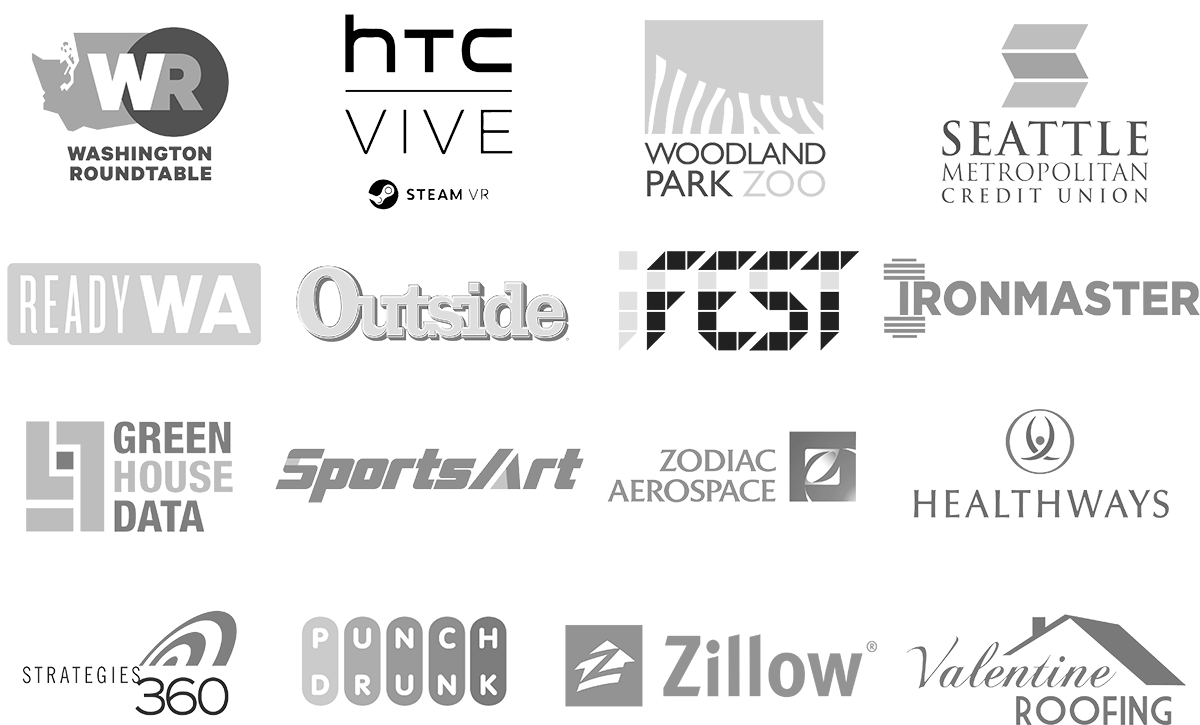 Companies Pixel Bokeh Productions worked with, Vive, IronMaster, Ready WA, Washington Round table, Outside Magazine, Microsoft, SportsArt, Outside Magazine Online